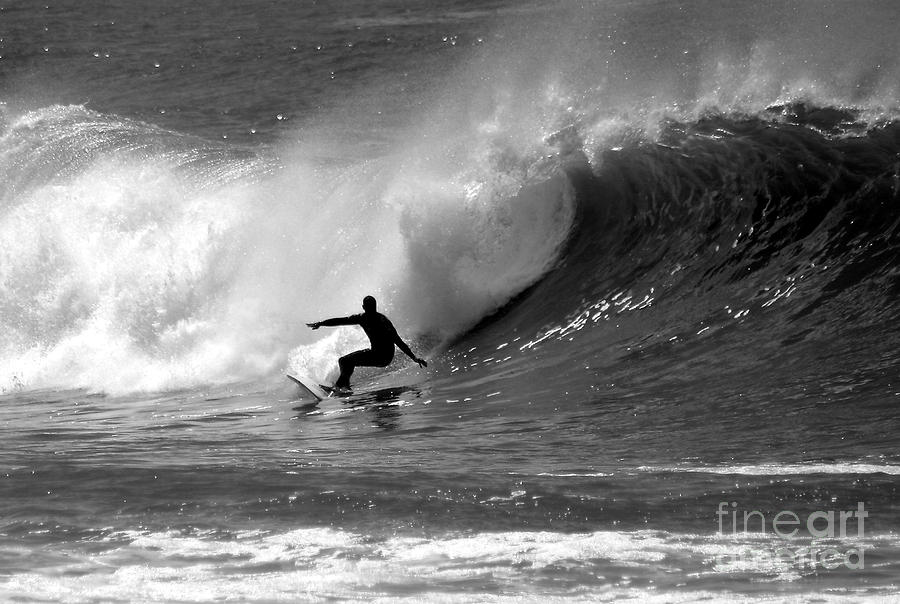 Black And White Surfer Photograph  - Black And White Surfer Fine Art Print