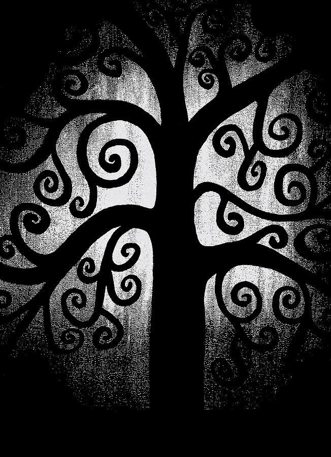 Black And White Tree Painting