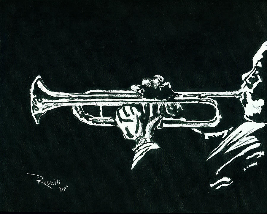 Black And White Trumpet Painting  - Black And White Trumpet Fine Art Print