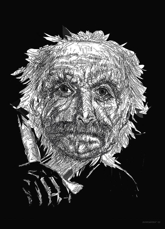Black And White With Pen And Ink Drawing Of A Old Man  Drawing