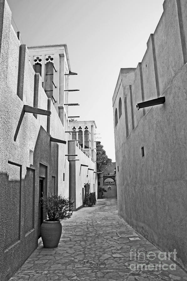 Black And Whitetraditional Middle Eastern Street In Dubai Photograph  - Black And Whitetraditional Middle Eastern Street In Dubai Fine Art Print