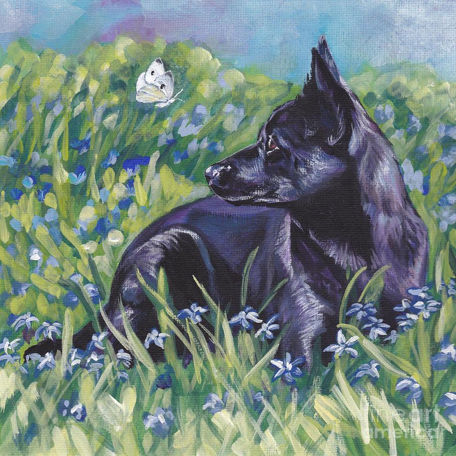 Black Australian Kelpie Painting