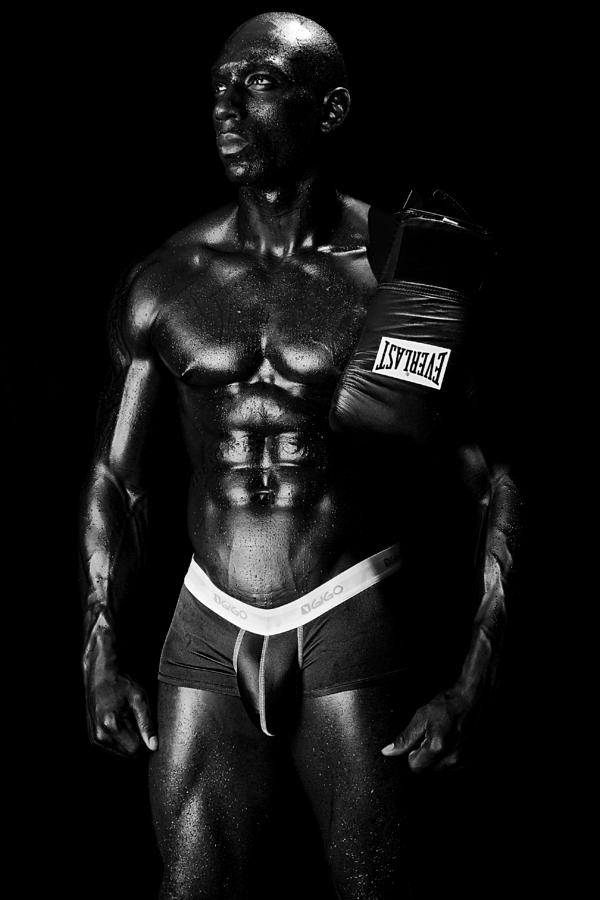 Black Boxer In Black And White 02 Photograph