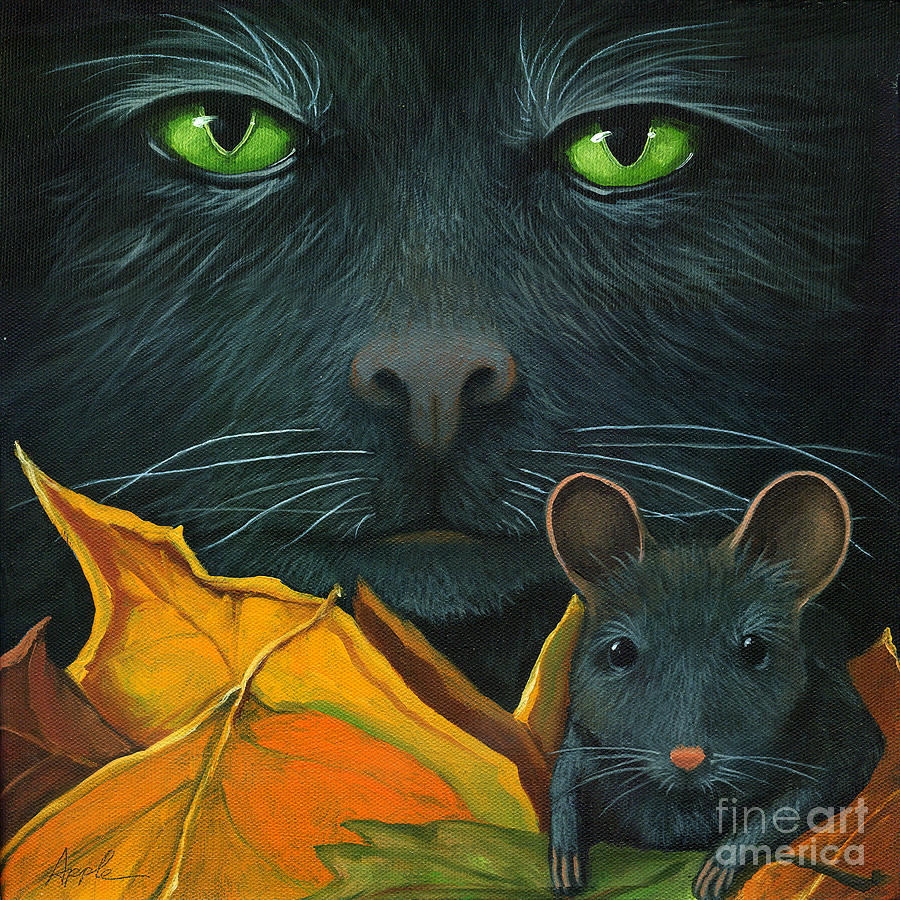 Black cat and mouse painting by linda apple for Cat paintings on canvas