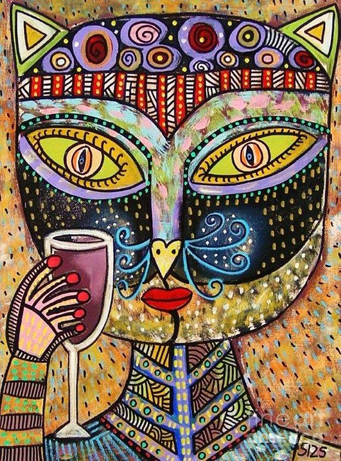 Black Cat Drinking Red Wine Painting  - Black Cat Drinking Red Wine Fine Art Print