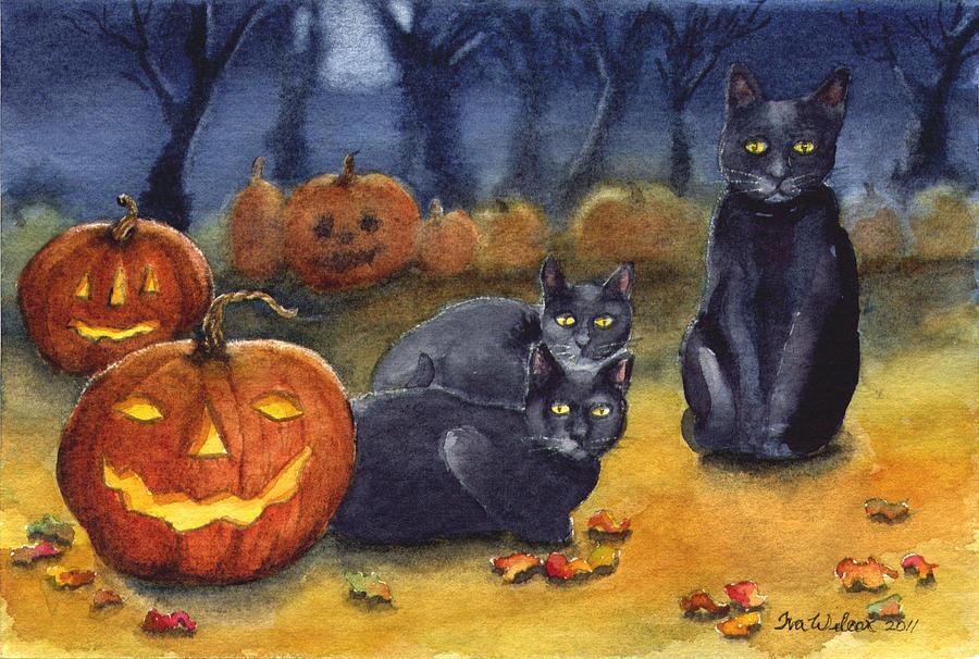 Black Cat Halloween Painting By Iva Wilcox