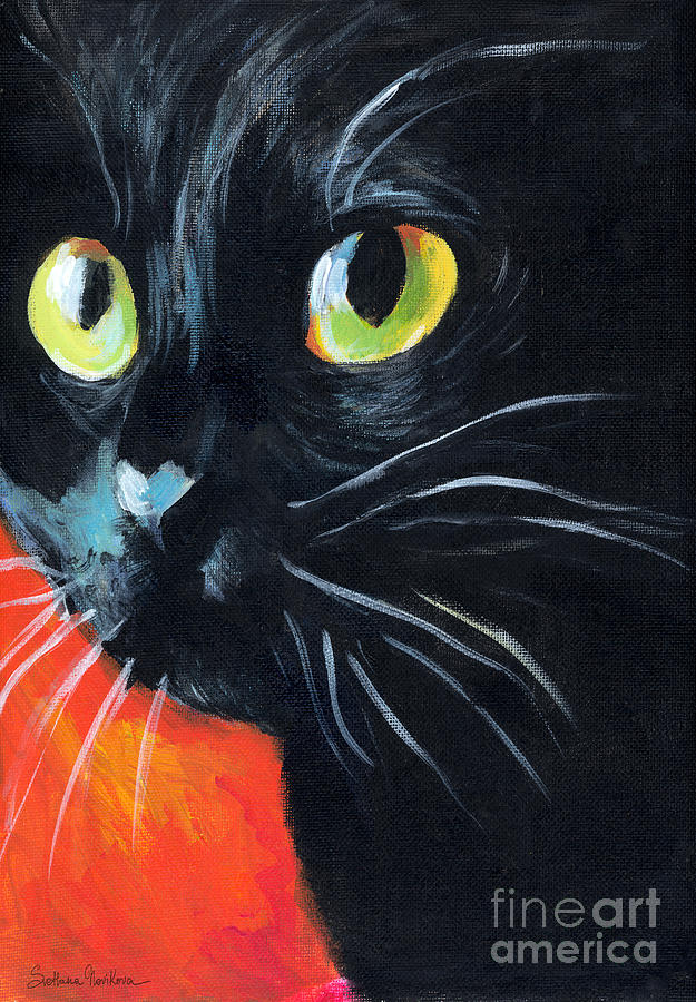 Black Cat Painting Portrait Painting  - Black Cat Painting Portrait Fine Art Print