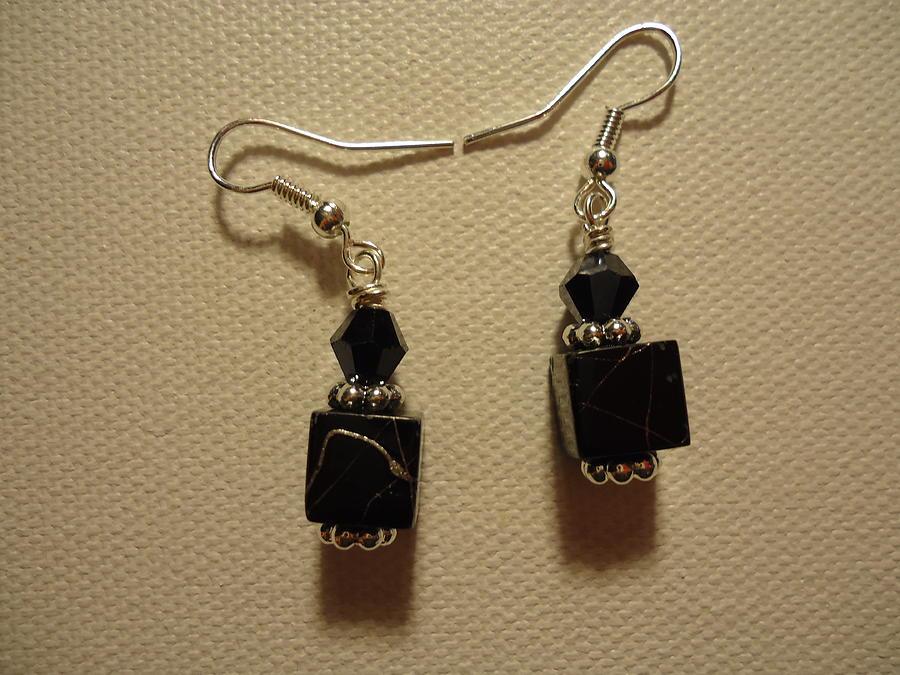 Black Cube Drop Earrings Photograph