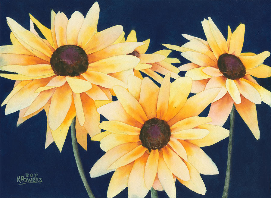 Black Eyed Susans 2 Painting  - Black Eyed Susans 2 Fine Art Print