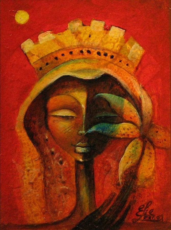 Black Flower Queen Painting