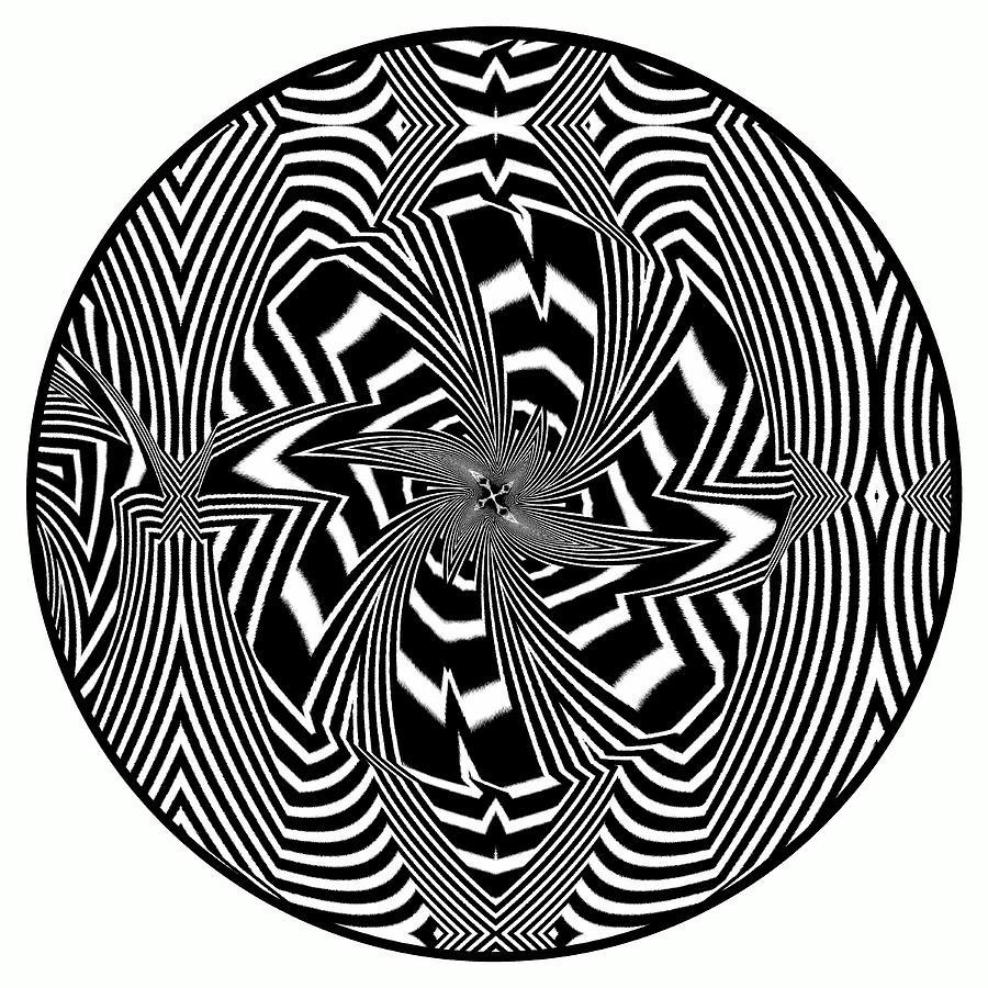 21st Century Op-art Set Digital Art - Black Flower by Visual Artist  Frank Bonilla