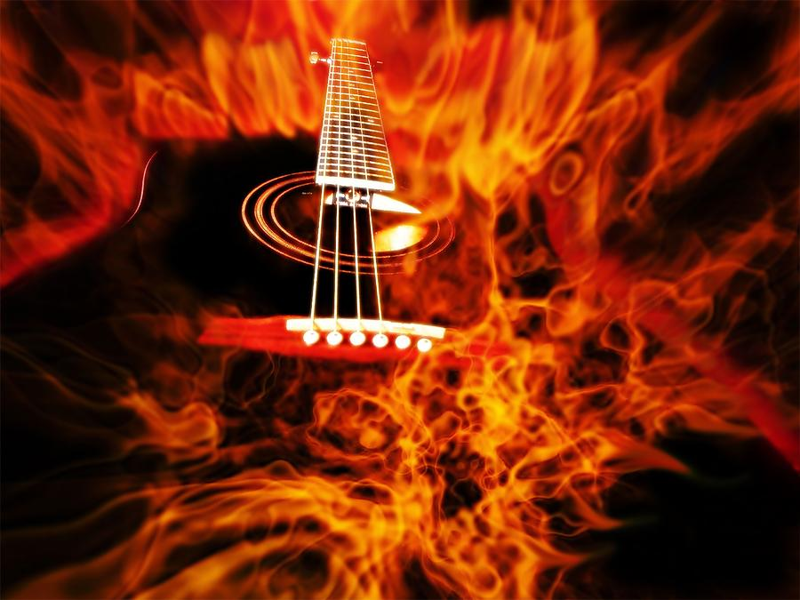 Black Guitar On Fire - I Play With Fire Photograph  - Black Guitar On Fire - I Play With Fire Fine Art Print