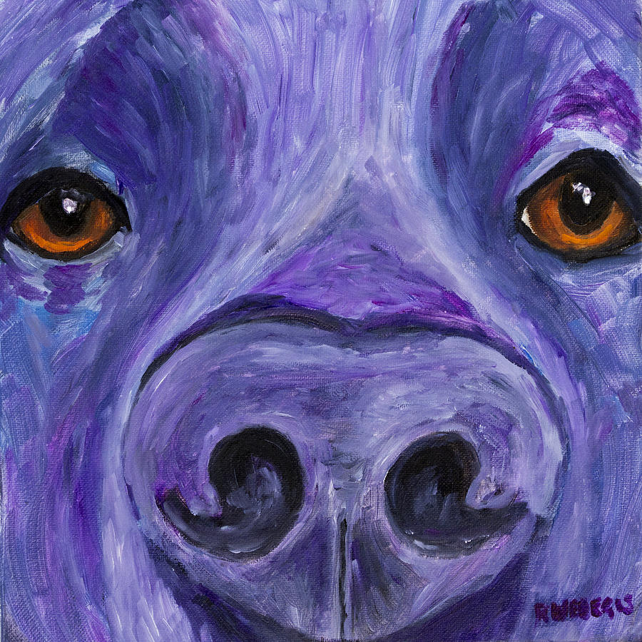 Black Lab Face Painting  - Black Lab Face Fine Art Print