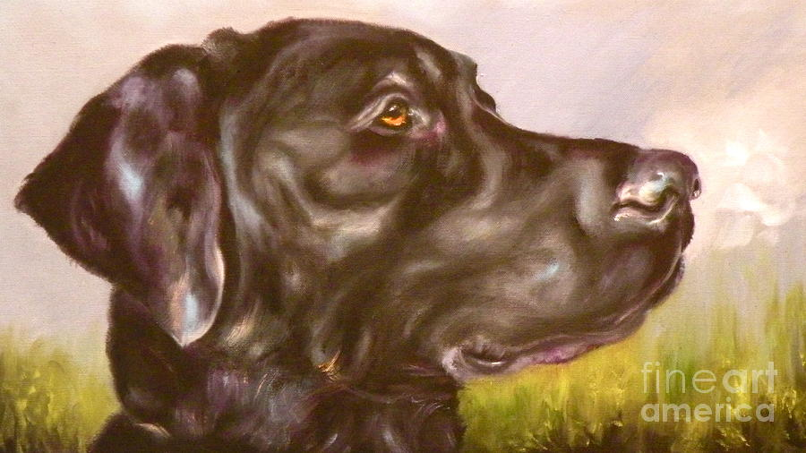 Black Lab In The Field Painting  - Black Lab In The Field Fine Art Print