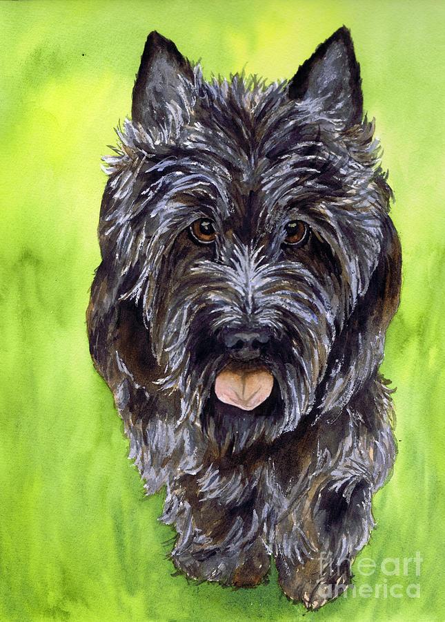 Scottish Terrier Painting - Black Scottish Terrier by Cherilynn Wood