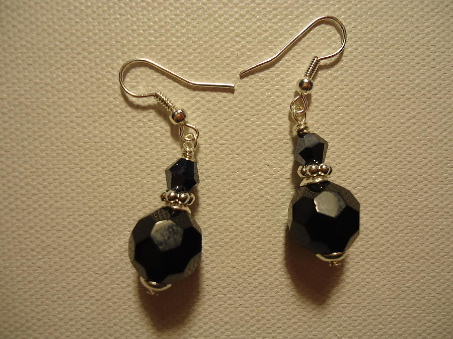 Black Sparkle Drop Earrings Photograph