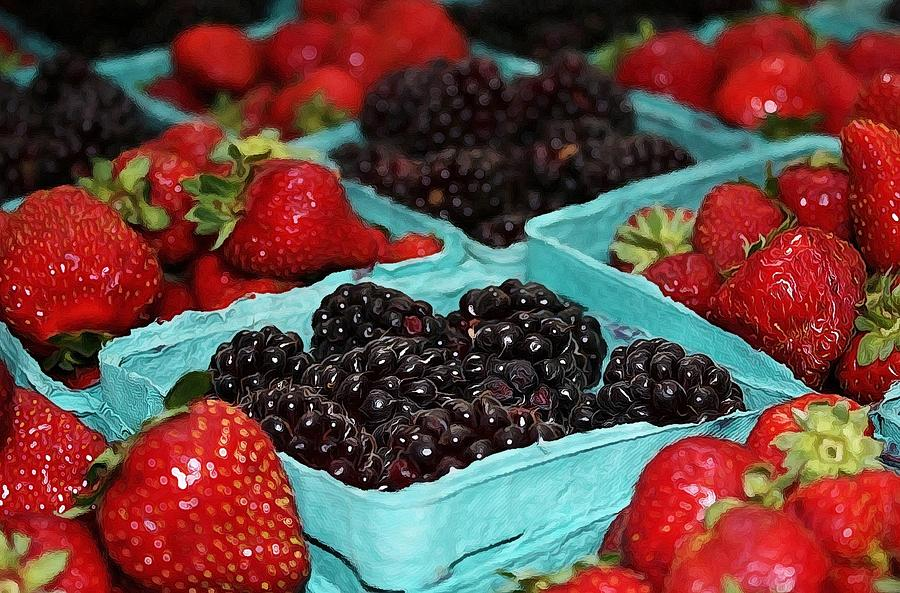 Blackberries And Strawberries Photograph