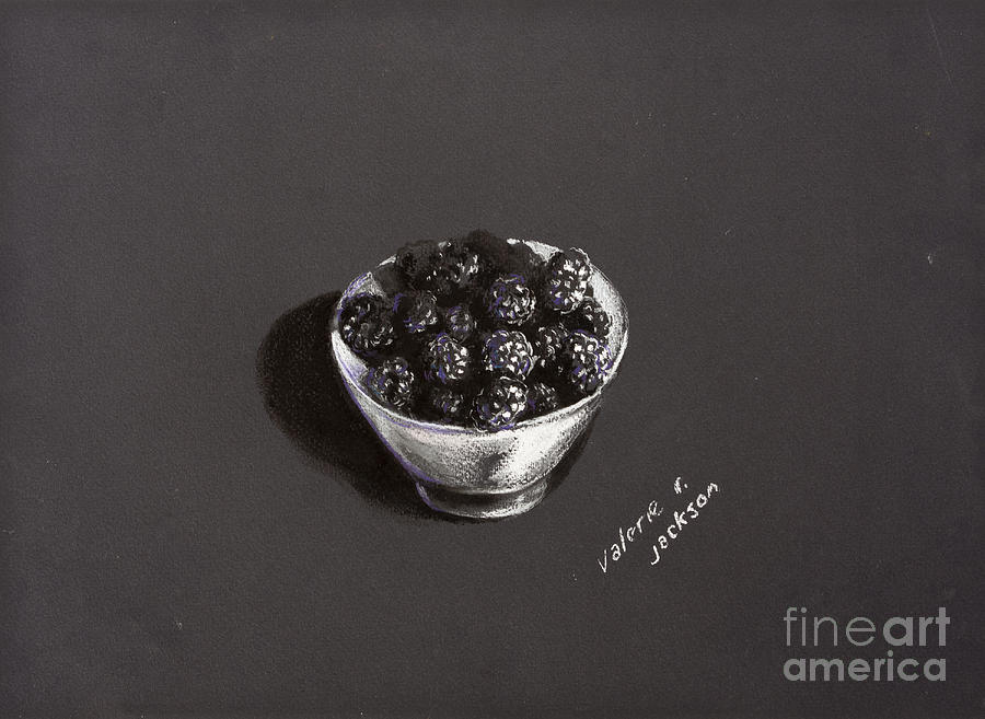Blackberries White Bowl Pastel