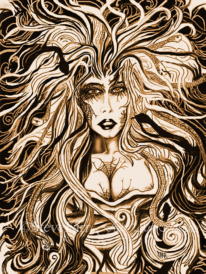 Blackmedusa-sepia Mixed Media  - Blackmedusa-sepia Fine Art Print