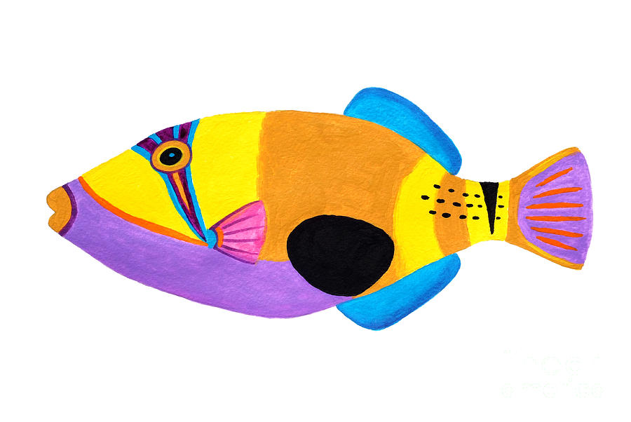 Blackpatch Triggerfish  Painting  - Blackpatch Triggerfish  Fine Art Print