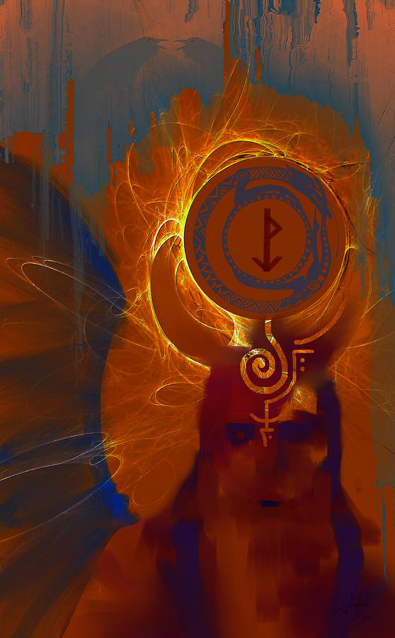 Blazzing Wisdom Through Odins Essence Digital Art