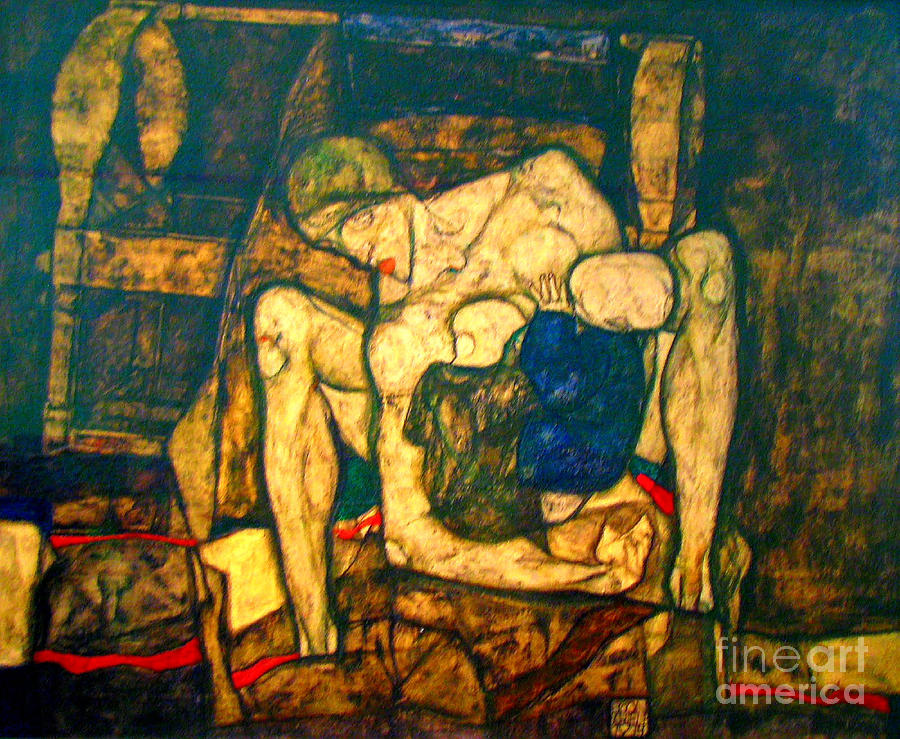 Seated Woman With Bent Knee Paintings Painting - Blind Mother By Egon Schiele by Pg Reproductions