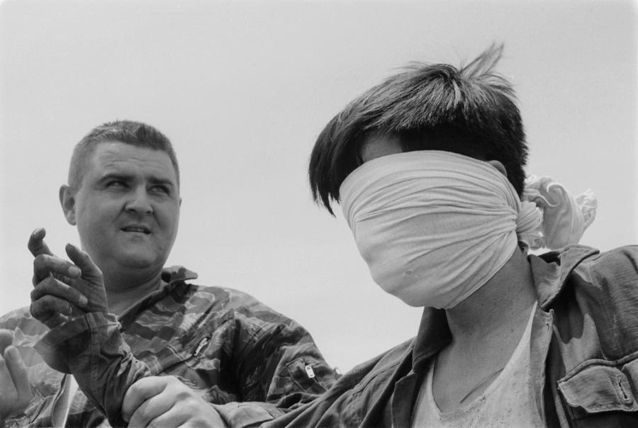 Blindfolded Viet Cong Pow. Us Marine Photograph