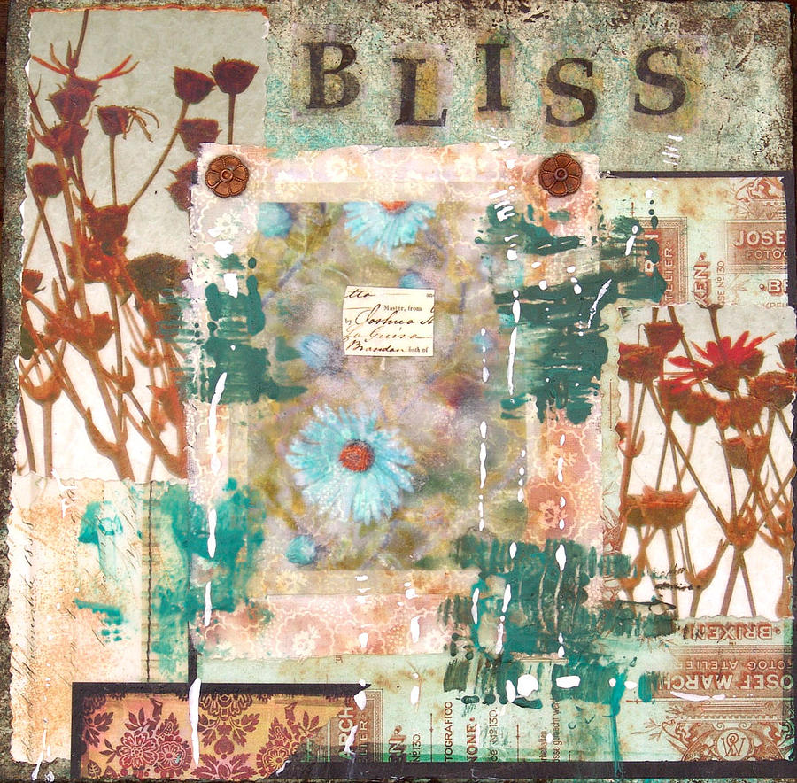 Bliss Mixed Media Collage Painting Mixed Media