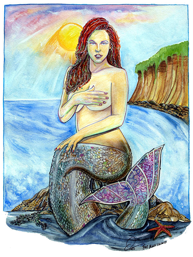 Block Island Mermaid Painting  - Block Island Mermaid Fine Art Print