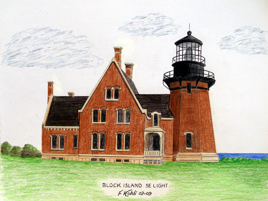 Block Island Se Lighthouse Drawing  - Block Island Se Lighthouse Fine Art Print
