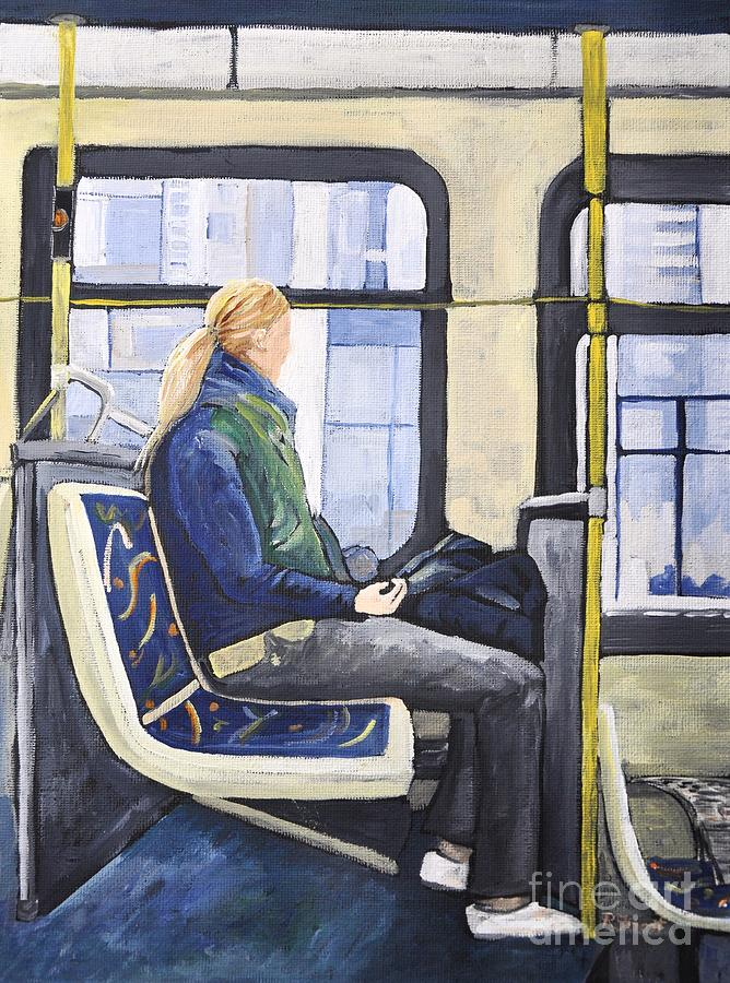 Blonde Girl On 107 Bus Montreal Painting  - Blonde Girl On 107 Bus Montreal Fine Art Print