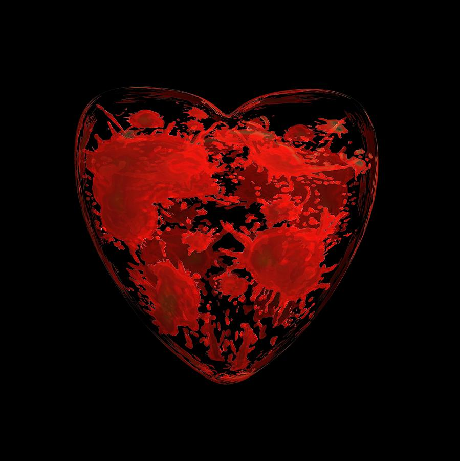 Bloody human heart art