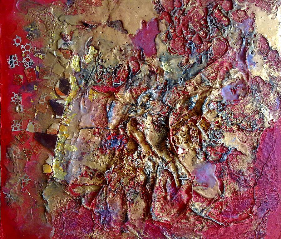 Blood Red Gold Magma Textural Bandages Stevens Lynda Mixed-media Mixed Media - Blood Red And Gold by Lynda Stevens
