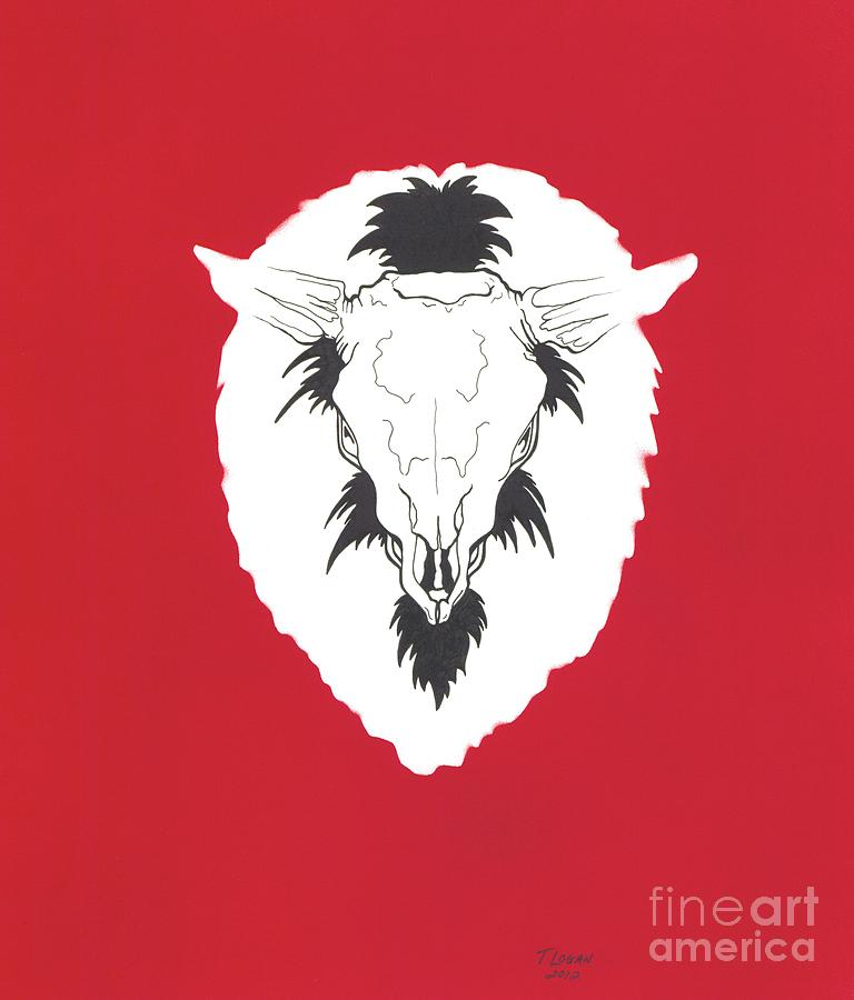 Blood Red Bison Drawing