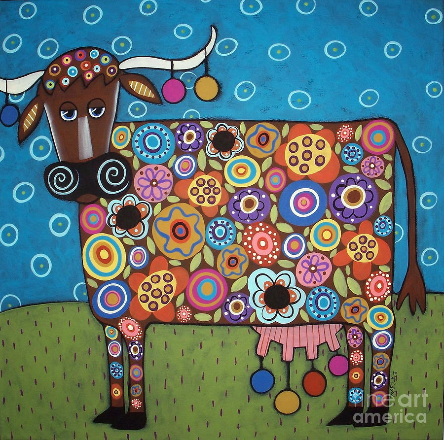 Blooming Cow Painting  - Blooming Cow Fine Art Print