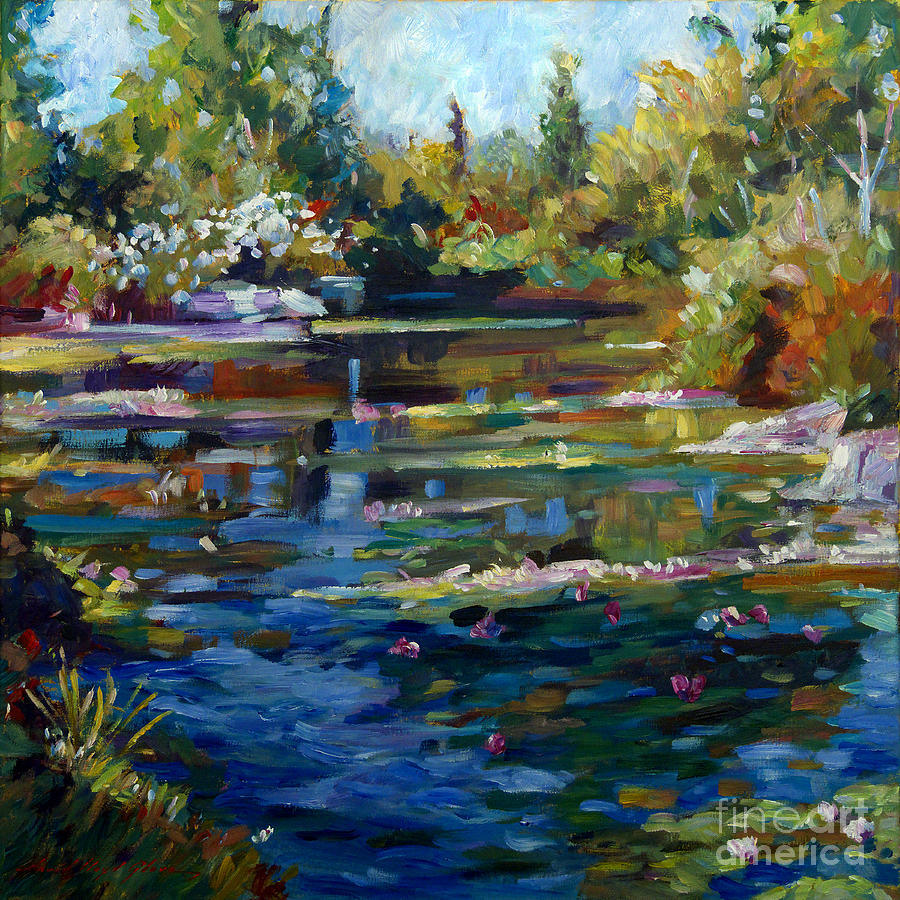 Blooming lily pond painting