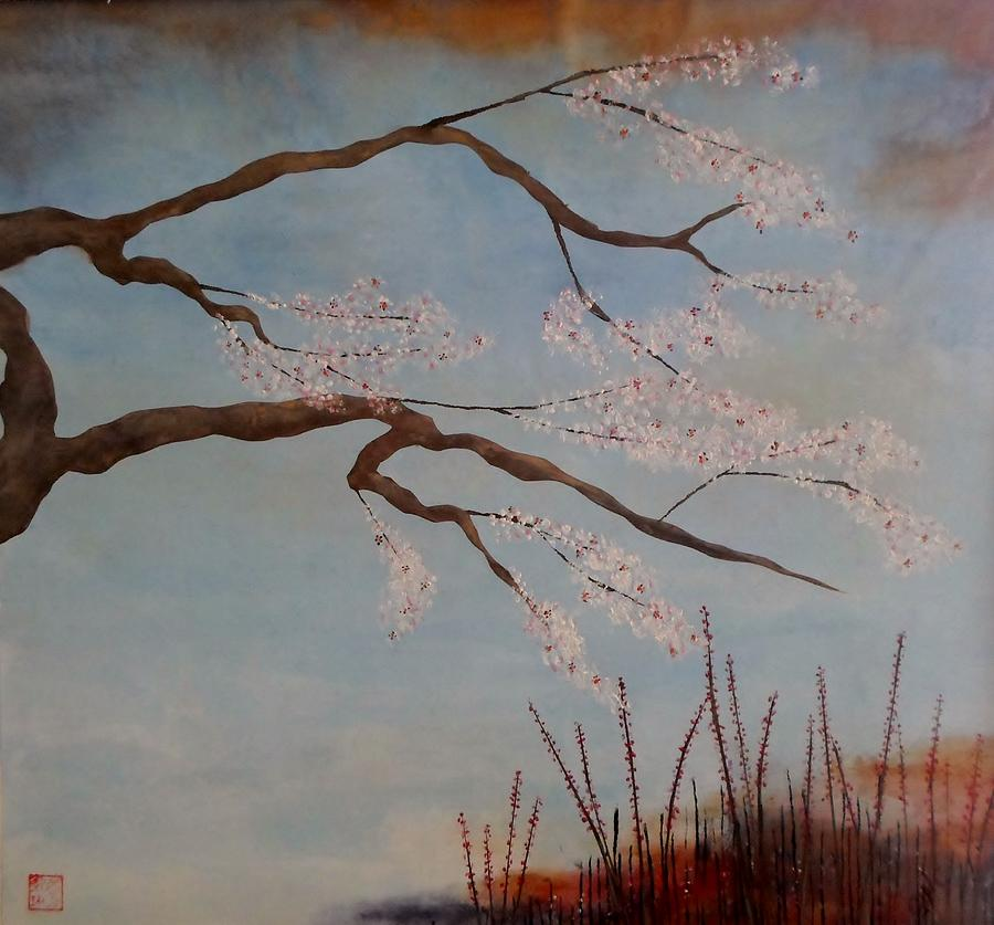 Blossoms Over The Lake Painting