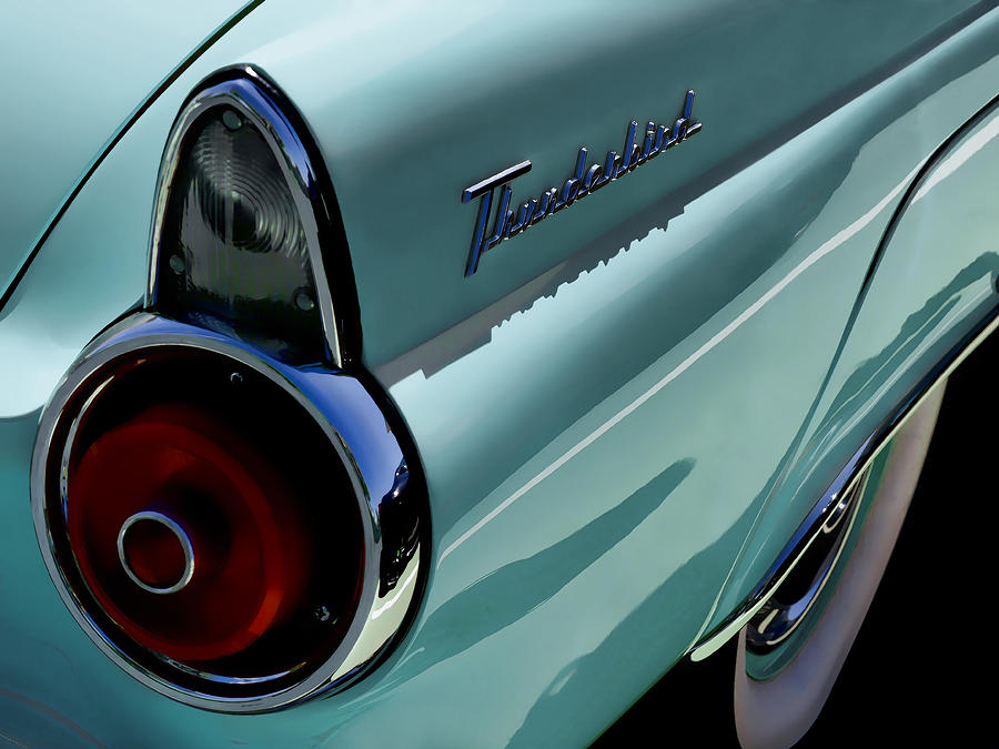 Blue 1955 T-bird Digital Art  - Blue 1955 T-bird Fine Art Print