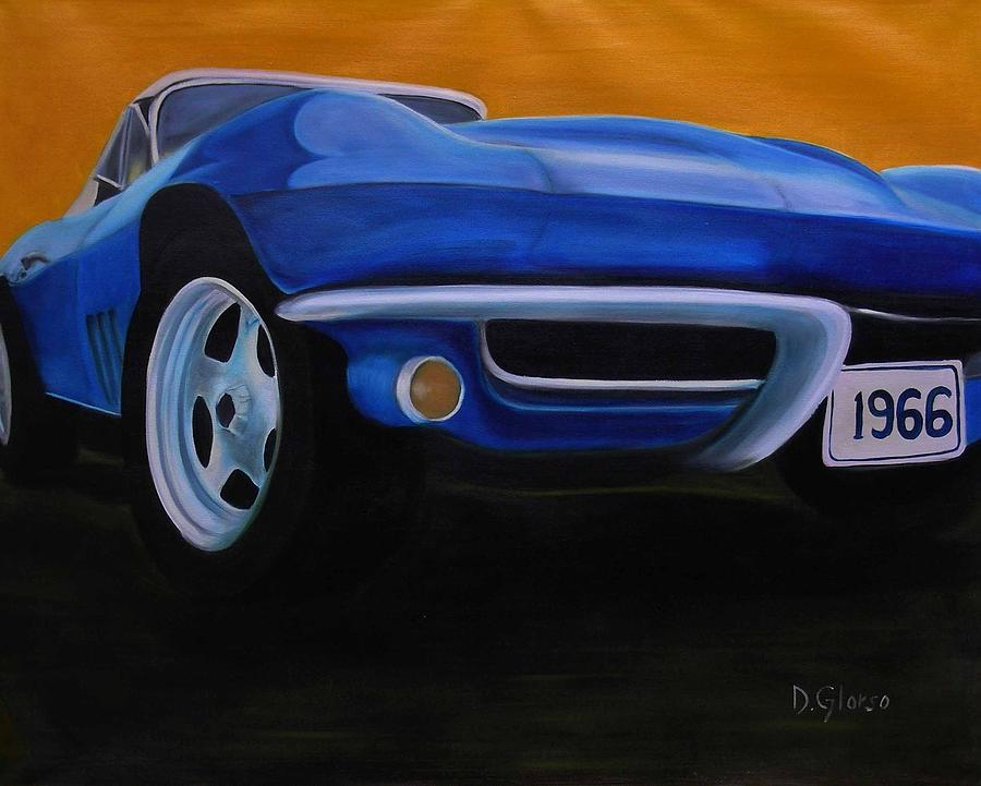 Blue 1966 Corvette Painting  - Blue 1966 Corvette Fine Art Print