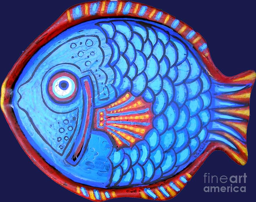 Blue And Red Fish Painting  - Blue And Red Fish Fine Art Print