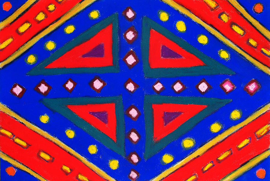 Blue And Red Ornamental Pastel Diamond Pattern Painting  - Blue And Red Ornamental Pastel Diamond Pattern Fine Art Print