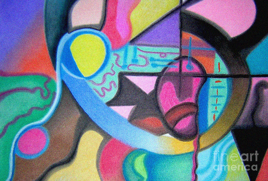 Colorful Drawing - Blue And Yellow Curve by Christine Perry