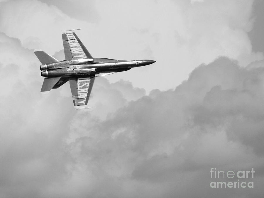 Black And White Photograph - Blue Angels In The Cloud . Black And White Photograph by Wingsdomain Art and Photography