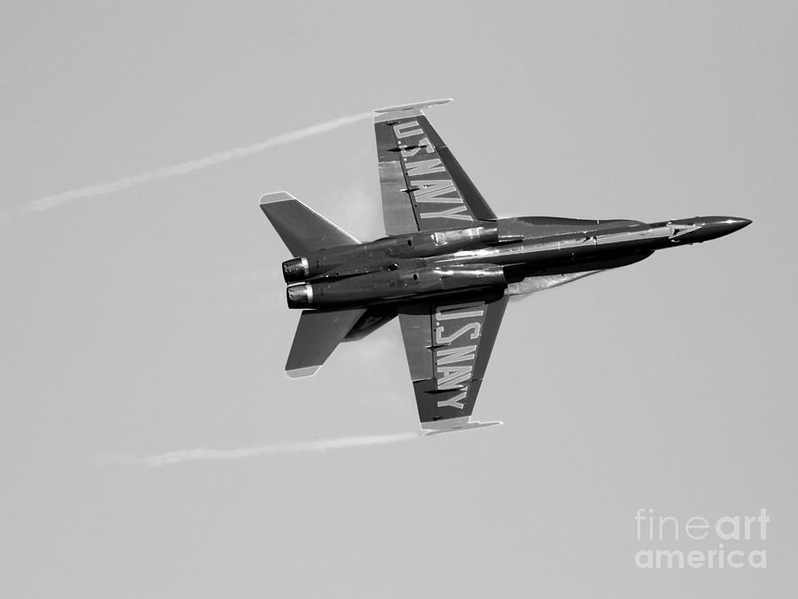 Blue Angels With Wing Vapor . Black And White Photo Photograph