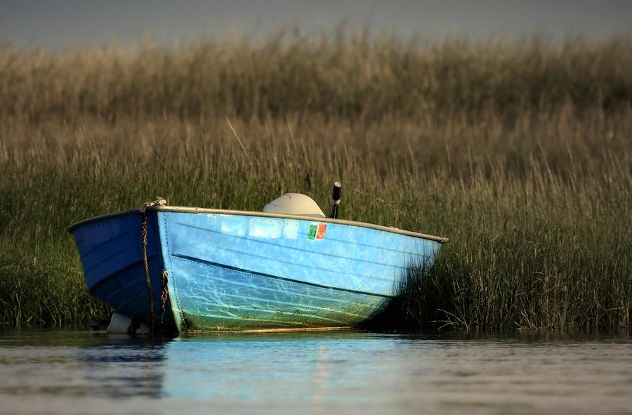 Blue Boat Eastham Cape Cod Boat Meadow Creek Photograph