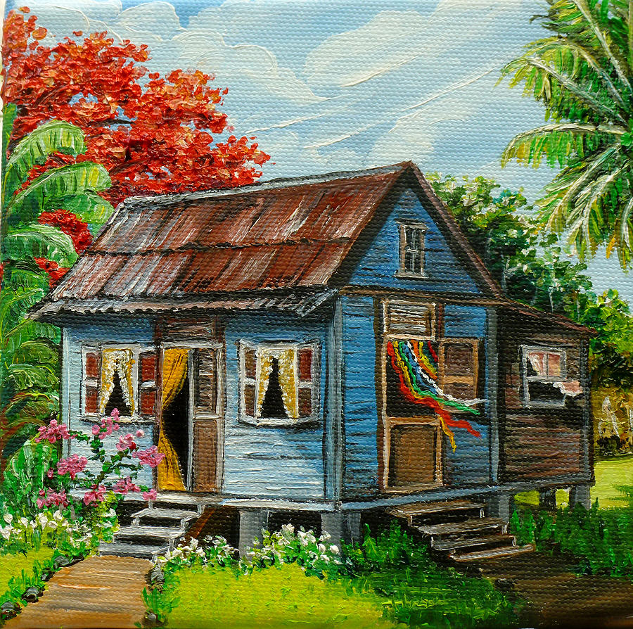 Blue caribbean house by karin best caribbean paintings for House painting images
