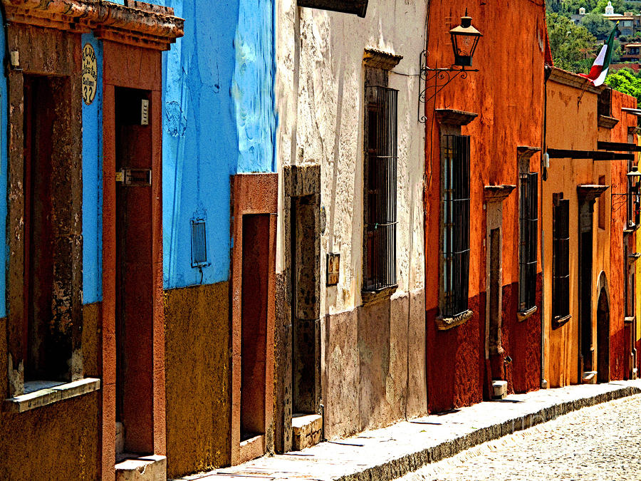 Blue Casa Row Photograph  - Blue Casa Row Fine Art Print