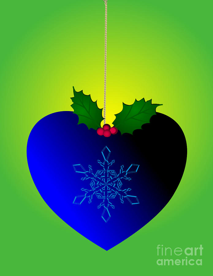 Blue christmas holiday heart design by mira dimitrijevic