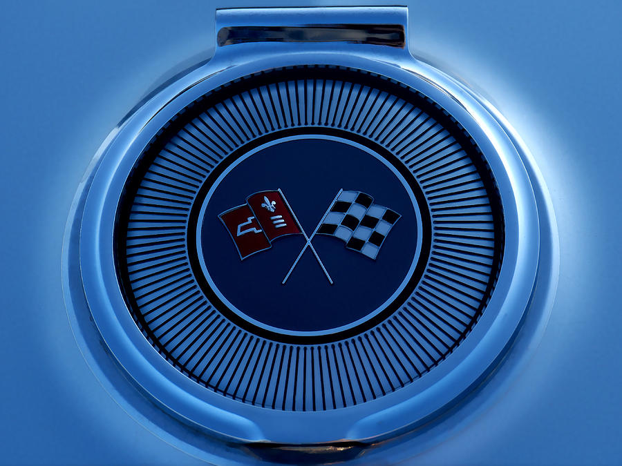 Blue Corvette Badge Digital Art  - Blue Corvette Badge Fine Art Print
