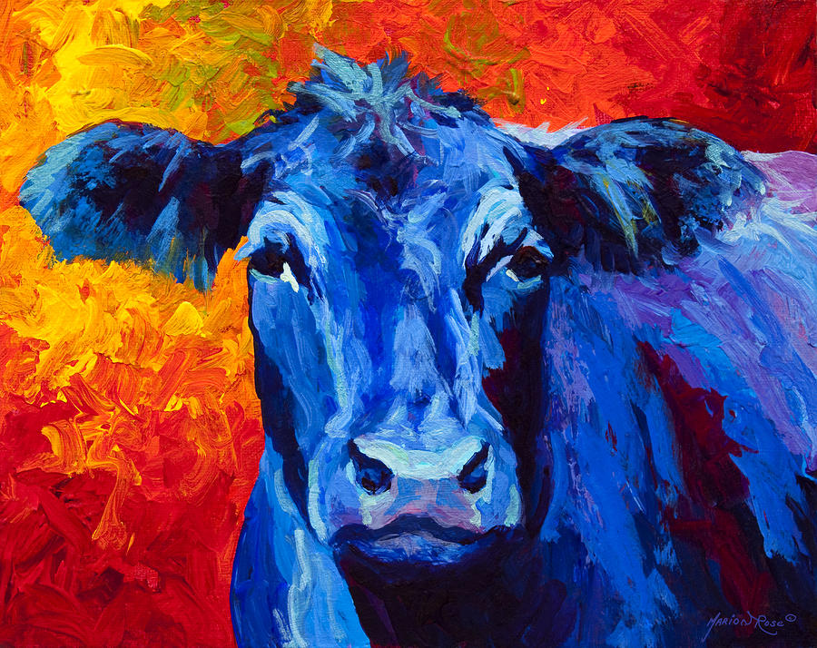 Blue Cow II Painting  - Blue Cow II Fine Art Print